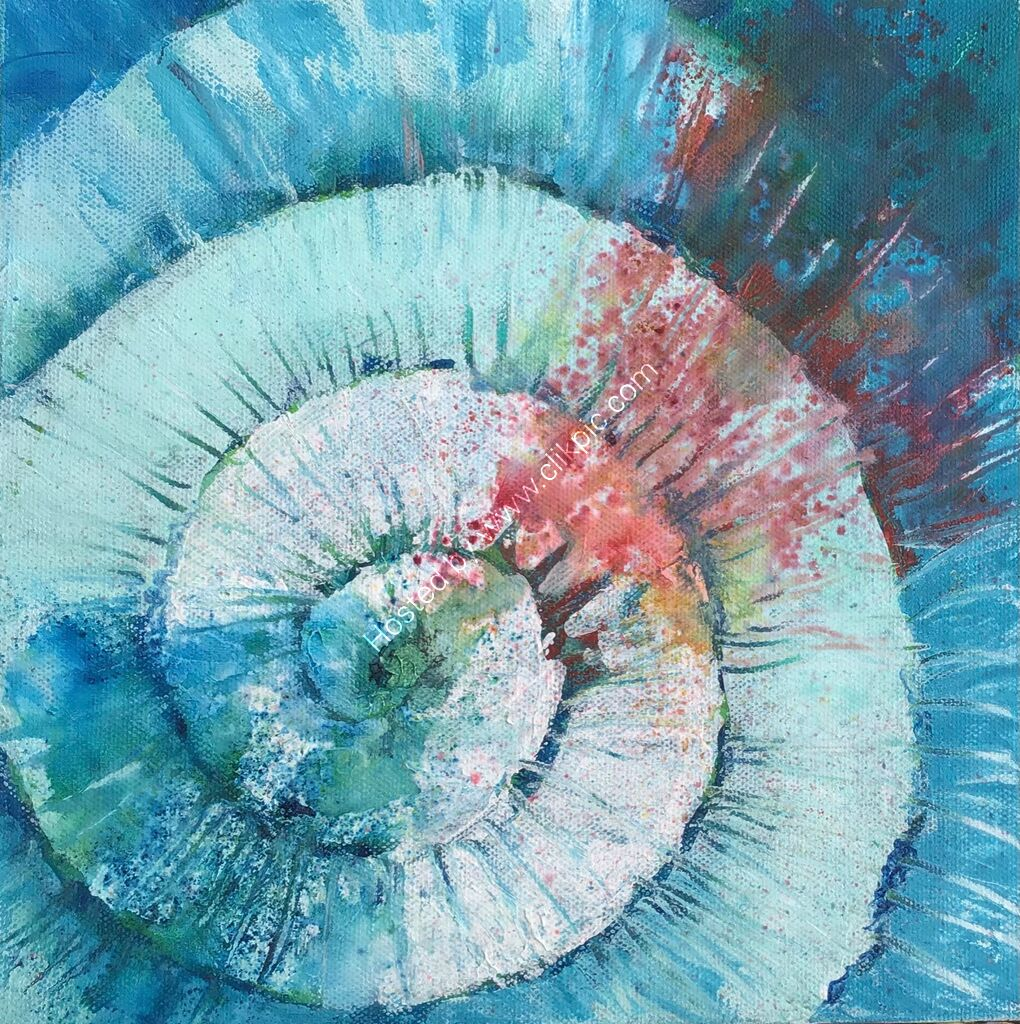 spiral,,blue, turquoise, red, abstract
