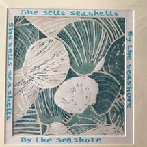 seashells, reduction linocut print