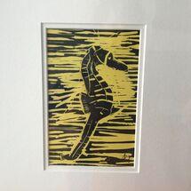 Linocut, seahorse, black, yellow