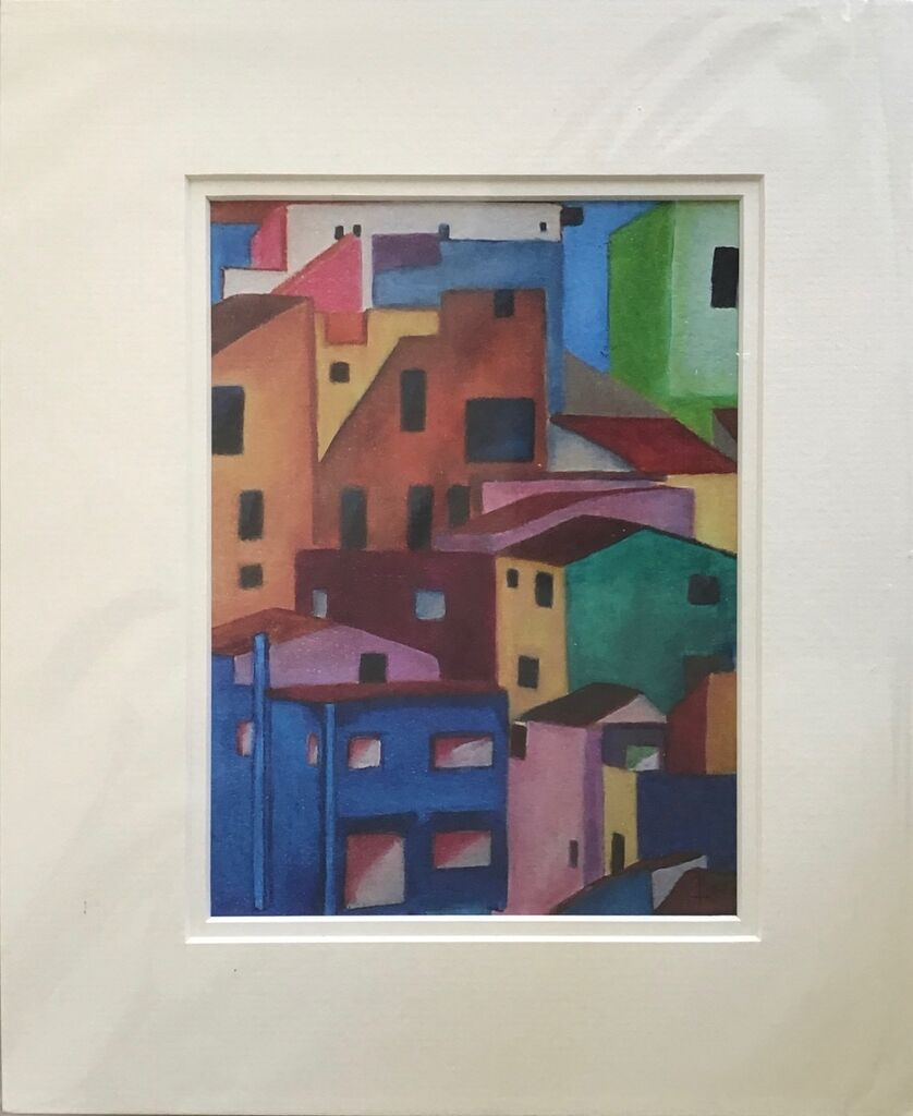 """colourful houses, limited edition print, sized for 12 x 14"""" frame"""