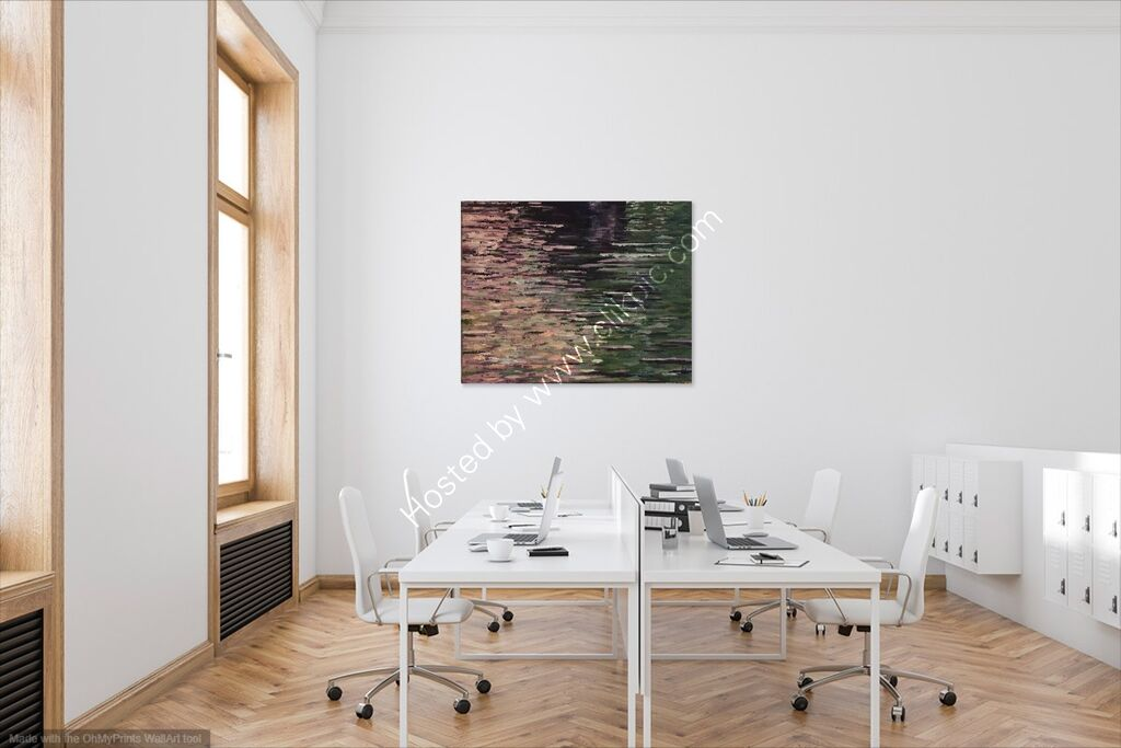 A dining room showing Reflections 22 on the wall