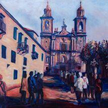 impressionist, landscape, people, church, colourful