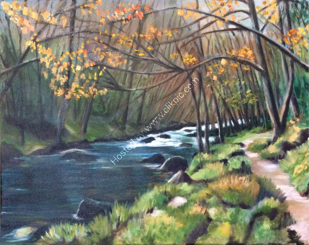 ArtPrint: River Teign Autumn. Misty autumn trees along the river bank