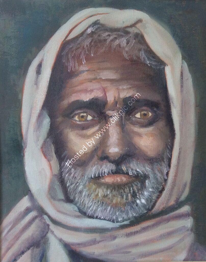 portrait, old man, headscarf, beard