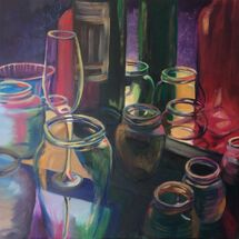 glasses, bottles. party, colourful, reflections