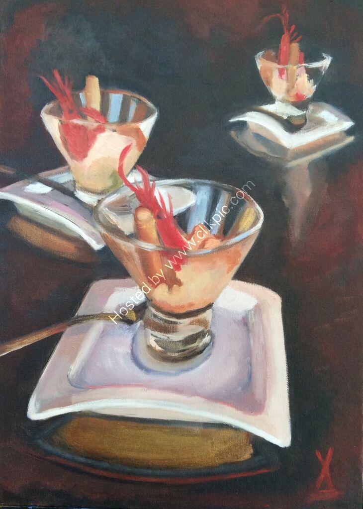 prawns, plates, food, glass, reflections