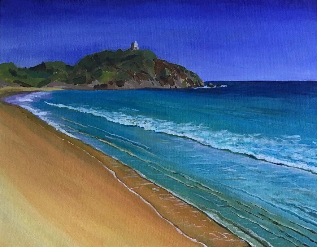 beach, sea, distant headland, intense blues and golds, blue sky