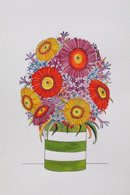 GERBERA JAR-INK AND WATERCOLOUR