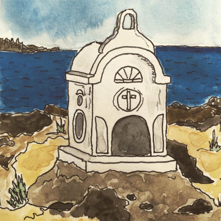 ELAFONISI SHRINE-INK AND WATERCOLOUR SKETCH