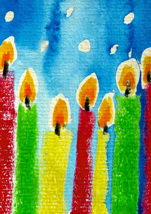 CANDLES -WAX  CRAYON AND WATERCOLOUR