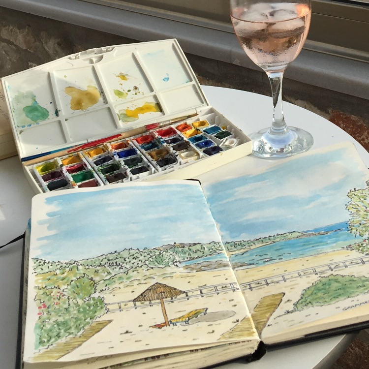 GRAMENO BEACH, CRETE -INK AND WATERCOLOUR SKETCH