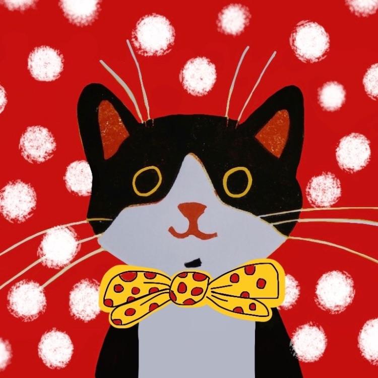 DOTTY CAT LINOCUT AND DIGITAL PRINT