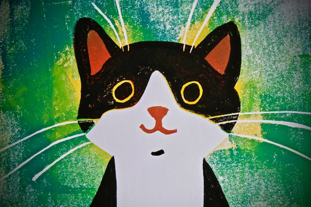 GREEN HAPPY CAT LINOCUT