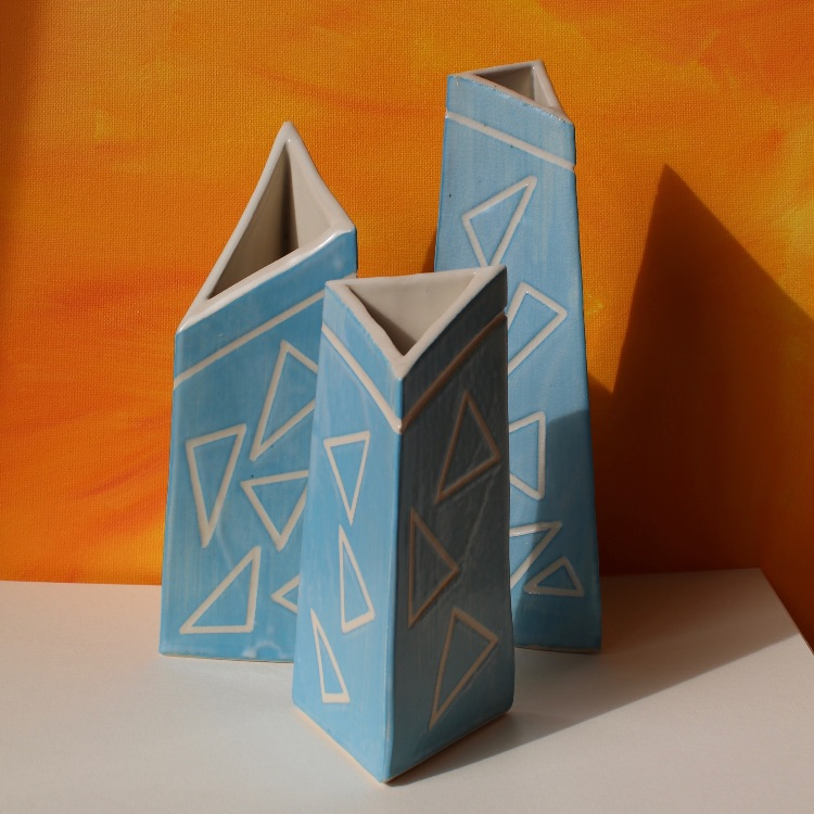 SLAB BUILT SGRAFFITO VASES