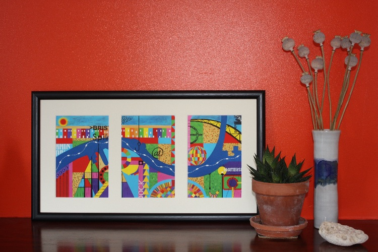 BRISTOL TRIPTYCH-GICLEE PRINT OF ACRYLIC PAINTING