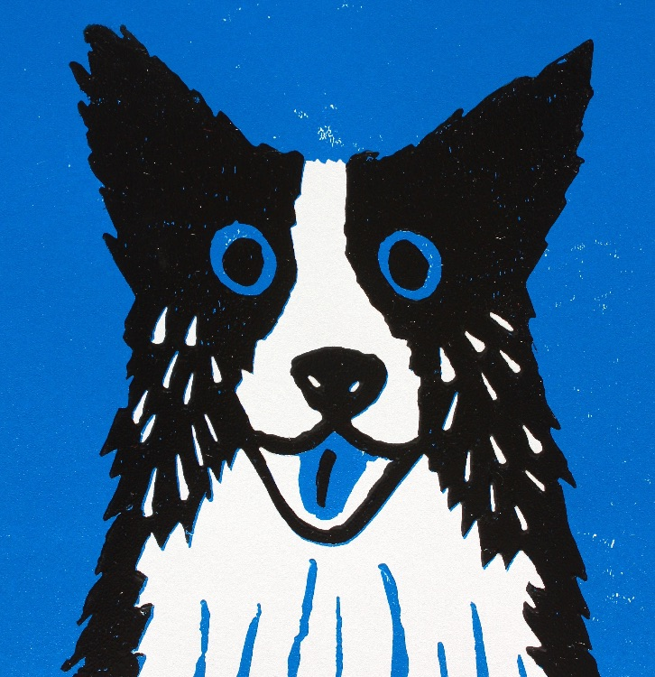 BLUE DOG LINOCUT