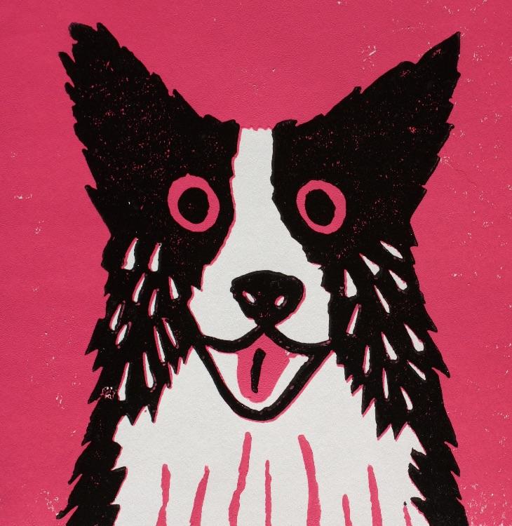 PINK DOG-LINOCUT