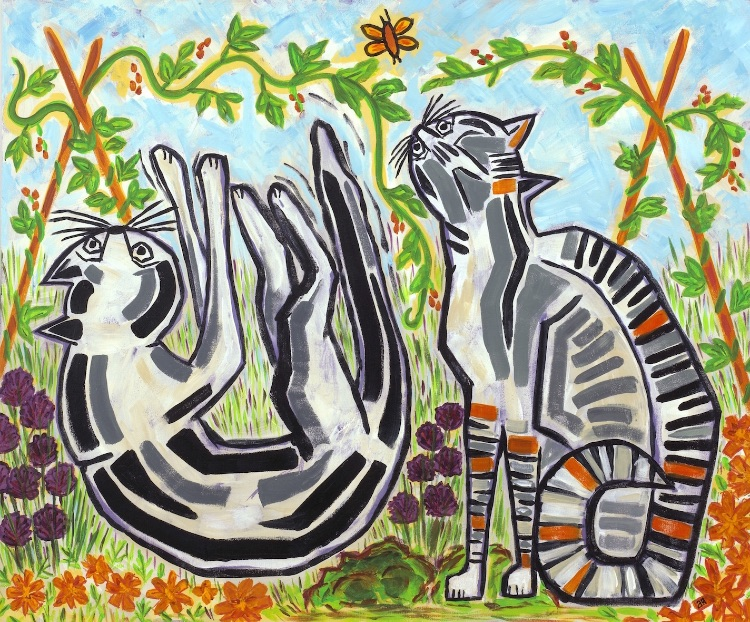 CATS IN THE VEG PLOT-ACRYLIC ON BOARD