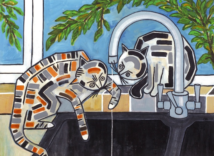 CATS AT THE TAP-ACRYLIC ON BOARD