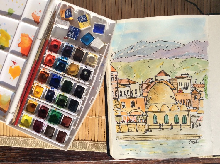 CHANIA-PEN AND WATERCOLOUR SKETCH