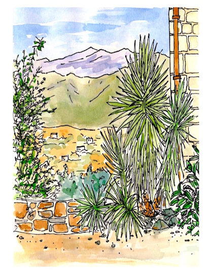 PEN AND WATERCOLOUR-WHITE MOUNTAINS, CRETE