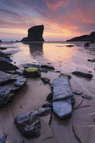 BEDRUTHAN BEACH AT SUNSET