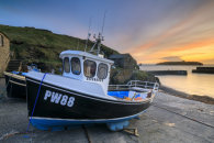 BOATS AT SUNSET (Mullion Cove)