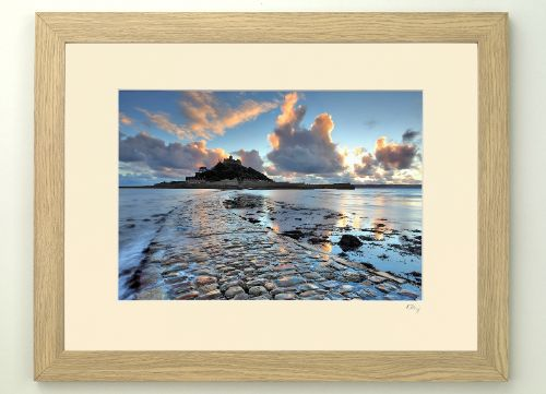 12x8 inch/A4 print in 16x12 inch ivory mount and light oak design frame.