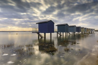 HIGH TIDE AT OSEA BEACH HUTS (Blackwater Estuary)