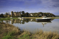 LAUGHARNE CASTLE AT HIGH TIDE