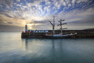 LIGHTHOUSE AND TALL SHIP (Newlyn)