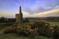 LOWER ENGINE HOUSE AT SUNSET (Wheal Unitity Wood Mine)