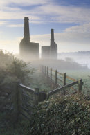 MIST AT WHEAL UNITY WOOD ENGINE HOUSES