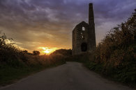 NORTH WHEAL GRAMBLER ENGINE HOUSE AT SUNSET