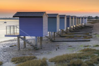 OSEA BEACH HUTS AT SUNSET