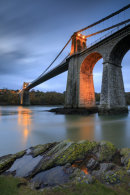 TWILIGHT AT THE MENAI SUSPENSION BRIDGE
