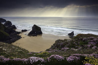 SHAFTS OF LIGHT OVER THE BEDRUTHAN STEPS
