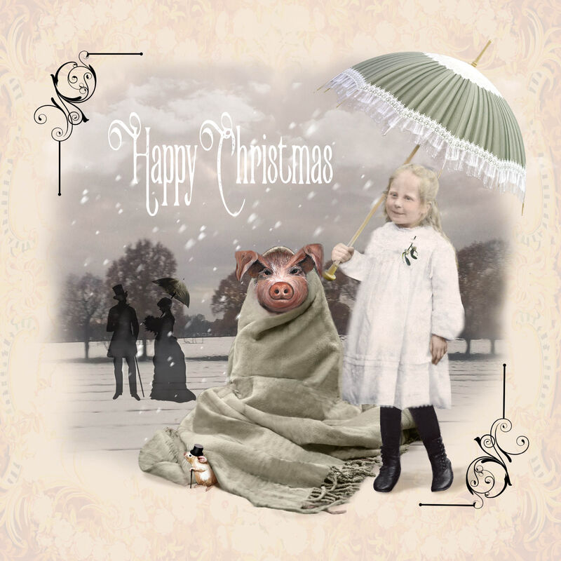 'Pig in Blanket' Victorian Greeting Card