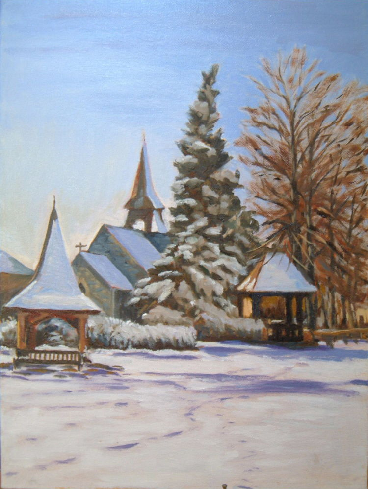 Hannington Village Green in Winter