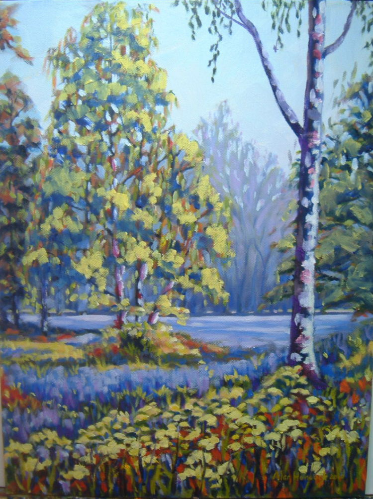 Bluebells and Birches (SOLD)