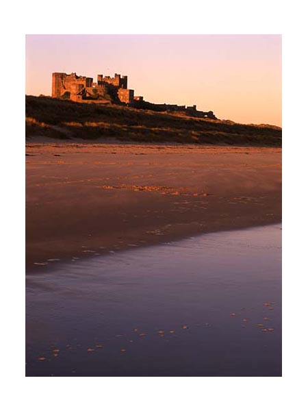 Bamburgh Castle from the dunes, Northumberland.