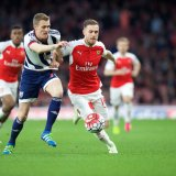Aaron Ramsey of Arsenal & Darren Fletcher of West Bromwich Albion