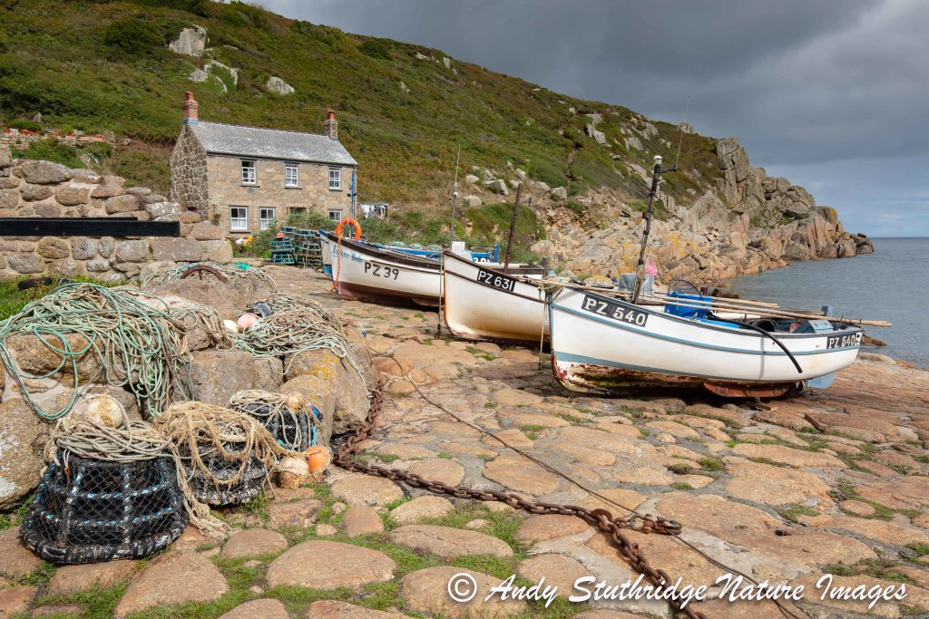Fishermans Cottage & Fishing Boats at Penberth Cove,Cornwall
