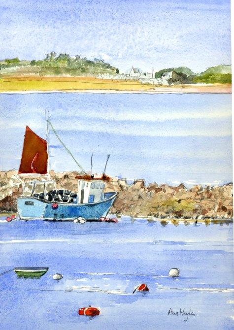 Towards Tresco Fishing boat