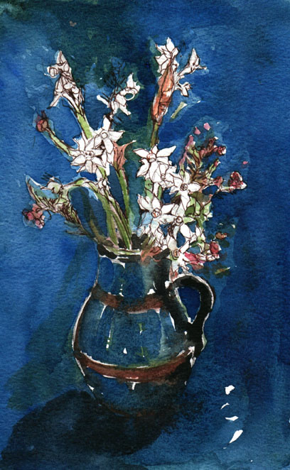 Paperwhites in a Blue jug