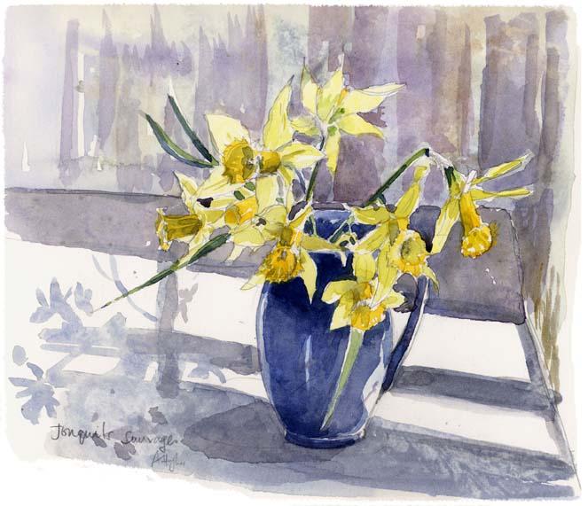 Wild daffodils in a Blue Jug