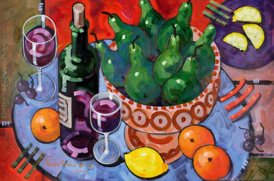 Red wine, green pears