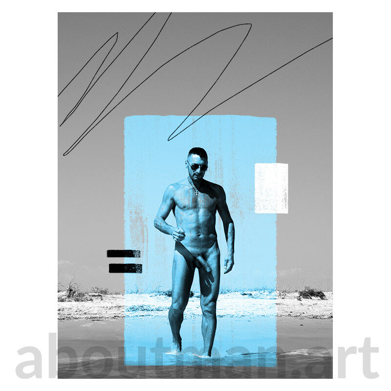 Composition In Blue - homoerotic art photo male nude photo artwork buy online