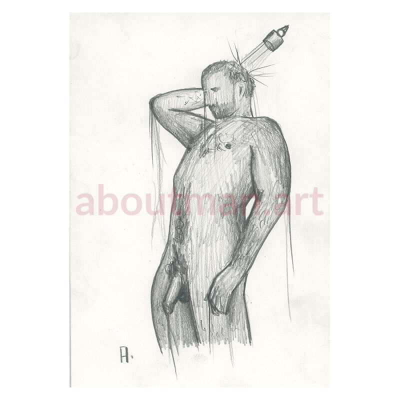 Shower Scene - erotric pencil drawing on paper