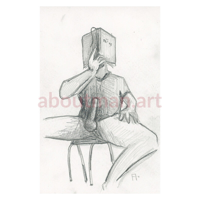 Book Worm - male nude homoerotic pencil drawing on paper